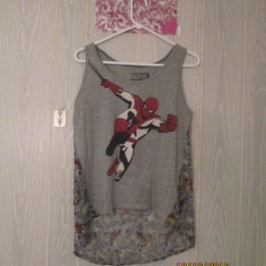 💕Marvel spider man hi/low sheer back tank